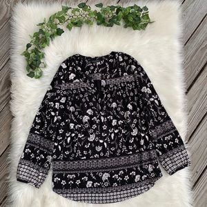 Lucky Brand Black & White Floral Top